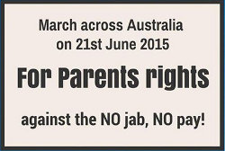 image of no jab, no pay march across australia poster