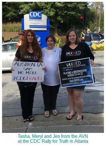 image: Meryl Dorey, Tasha David, Jennifer Smith promoting the movie Vaxxed at the CDC protest rally, Atlanta, USA
