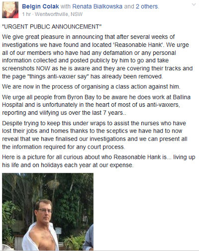 image: Belgin Colak/Arslan Facebook post, announcing the doxxing and linking to Brett Smith's doxxing website