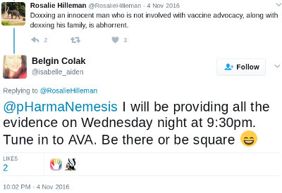 Tweet by Belgin Colak/Arslan, stating she will be providing evidence that Peter Tiernan is Hank on Wed night