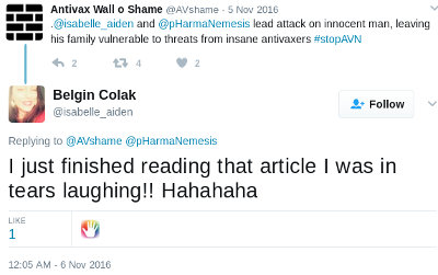 Tweet by Belgin Sila Colak/Arslan, stating a media article describing the distress caused to the Tiernan family had her in tears of laughter