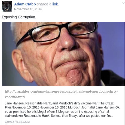 image: Facebook post by Adam Crabb, linking to article (part 2) doxxing Peter Tiernan, hosted on his Crazz Files website