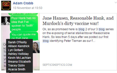 image: Facebook post by Adam Crabb, linking to article (part 2) doxxing Peter Tiernan on Smith's website