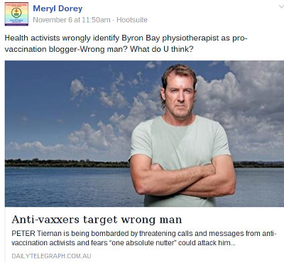 Facebook post by Meryl Dorey, posted to multiple pages, inviting speculation that Peter Tiernan is Hank