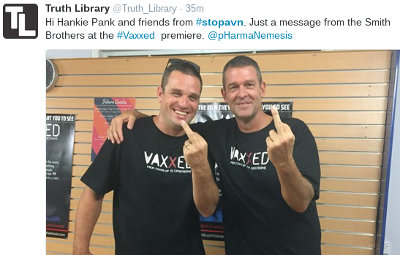 image: picture of Olivier Vles and Brett Smith at AVSN Vaxxed premiere giving the middle finger to SAVN