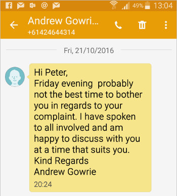 image: Phone message from Brett Smith to Hank, impersonating a doctor from a medical clinic