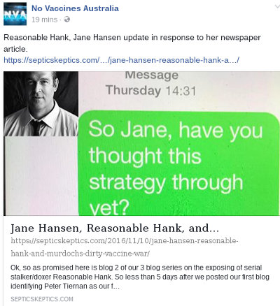 image: Facebook post by Ian Hastings, linking to article (part 2) doxxing Peter Tiernan
