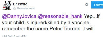 image: Tweet by Brett Smith, implying Peter Tiernan should be held responsible for all kids injured or killed by vaccines