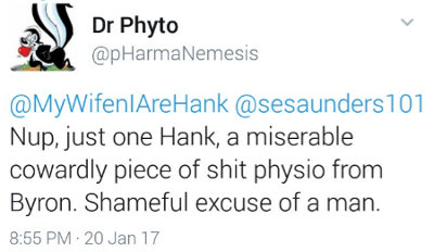 image: Tweet by Brett Smith, calling Tiernan a cowardly piece of shit physio and a shameful excuse of a man