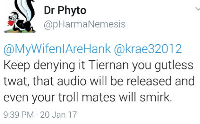 image: Tweet by Brett Smith, threatening to release illegal phone recordings