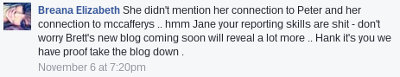 Facebook comment by Breana Stanley, defaming journalist Jane Hansen and threatening a new doxxing article is on its way