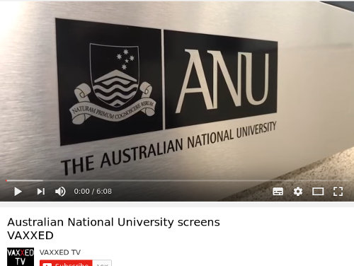 Official Vaxxed YouTube video title 'Australian National University screens Vaxxed'