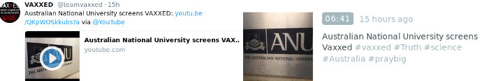 Official Vaxxed Periscope & Twitter: Australian National University screens Vaxxed