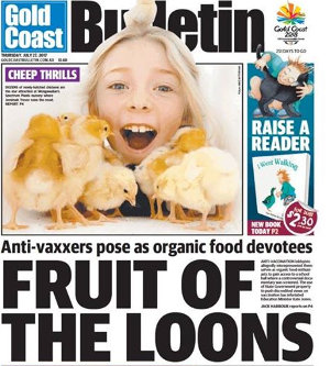 Front page of the Gold Coast Bulletin, 27 July 2017