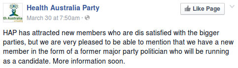 image: HAP Facebook post announcing a former major party politician will be running as a HAP candidate