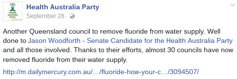 image: HAP Facebook post congratulating Woodforth for his part in having 30 councils remove fluoride from their water supplies.