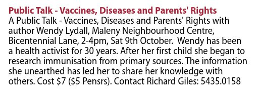 image: Advertisement for Wendy Lydall seminar, Vaccines, Diseases and Parents' Rights