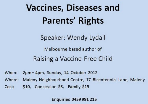 image: Advertising flyer for Wendy Lydall seminar, Vaccines, Diseases and Parents' Rights