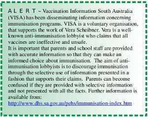 image: South Australian Government warning about Vaccination Information Serving Australia